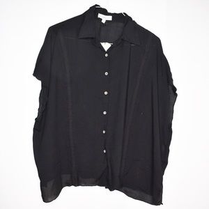 Honey Punch Black Embroidered Trim Button Down Top